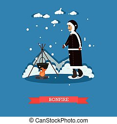 Bonfire concept vector illustration in flat style - Bonfire...
