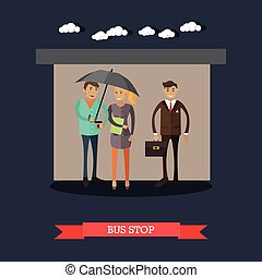 Bus stop concept vector illustration in flat style. People...
