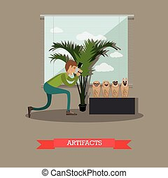 Artifacts concept vector illustration in flat style - Vector...