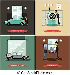 Vector set of car service station, repair shop posters,...