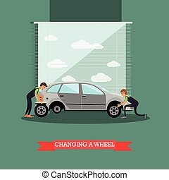 Wheel change, car repair service vector illustration in flat...