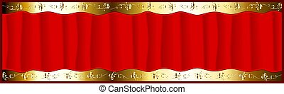 red courtain - red colour curtains isolated on golden...