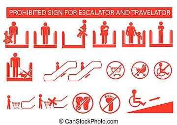 Set of Prohibited Sign at Escalator or Travelator Isolated...