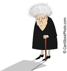 Cranky Old Lady Looking Suspicious - Funny cartoon of a...