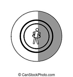 sticker of monochrome pictogram with training in hula hoop...