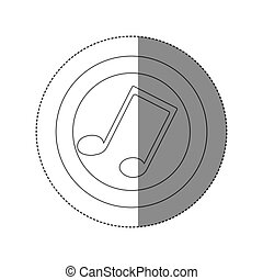 sticker silhouette circular frame with musical note vector...
