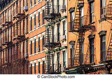 Apartment Buildings in New York City - Block of Crowded...
