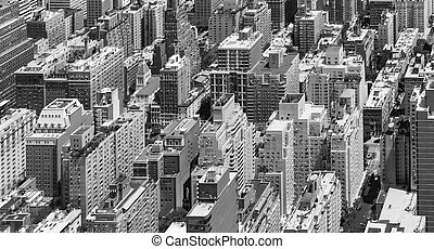 New York City Panoramic Buildings Background in Black and White
