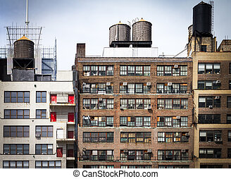 Old apartment buildings background in New York City