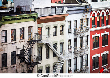 Historic buildings along Bowery in Chinatown New York City