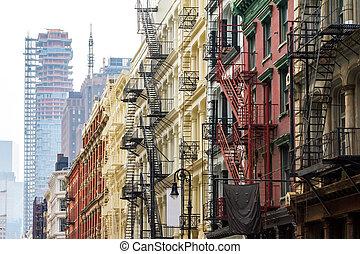 Soho Neighborhood in Manhattan New York City - Long row of...