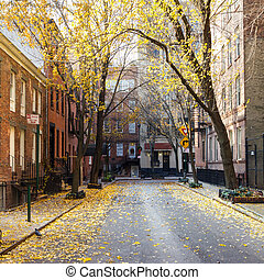 New York City block in the Greenwich Village neighborhood of...