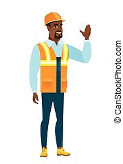 Young african-american builder waving his hand.