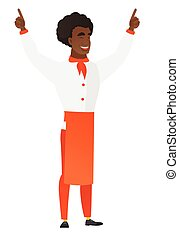 Chef cook standing with raised arms up. - Successful...
