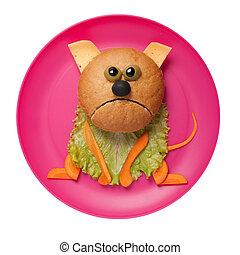 Sad cat made of bread, cheese and vegetables on pink plate