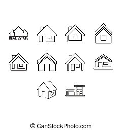 Thin line real estate icon set