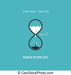 Water drop and sandglass icon with small tree icon vector...