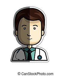 medical doctor icon - medical doctor man icon over white...