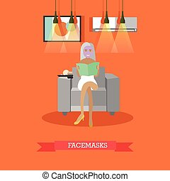 Spa facial masks concept vector illustration in flat style
