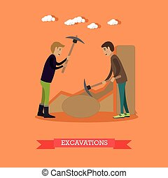 Archaeological excavations concept vector illustration in...