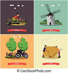 Vector set of farming posters, banners in flat style.