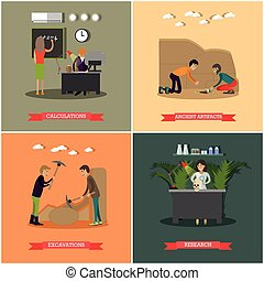 Vector set of archaeological excavations concept posters in...