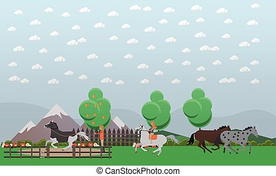 Free or wild horses vector illustration in flat style -...