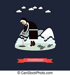 Fisherman concept vector illustration in flat style - Vector...