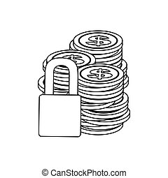monochrome contour of coins stacked and padlock