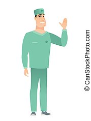 Young caucasian doctor waving his hand.