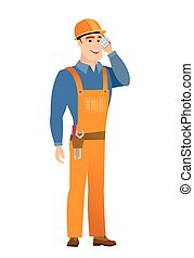 Builder talking on a mobile phone.