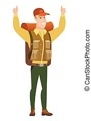 Traveler standing with raised arms up. - Successful...