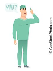 Doctor with question what in speech bubble.