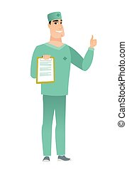 Doctor with clipboard giving thumb up.