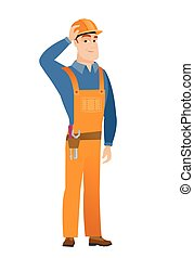 Young caucasian builder in workwear and hard hat. - Young...