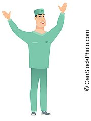 Surgeon standing with raised arms up. - Successful caucasian...