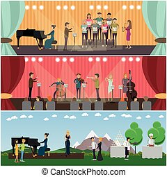 Vector set of orchestra concept flat style posters, banners