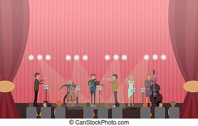 Vector illustration of symphony orchestra and audience