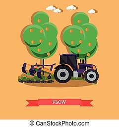 Vector illustration of tractor plowing soil in flat style -...