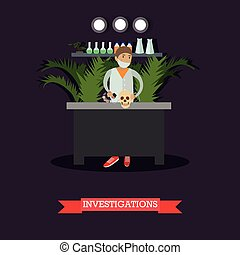 Archaeological investigations concept vector illustration in...