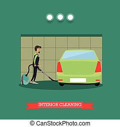 Cleaning car interior vector illustration in flat style -...