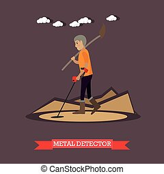 Metal detector concept vector illustration in flat style -...