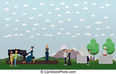 Live music and outdoor catering vector illustration in flat...