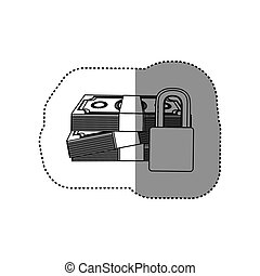 monochrome contour sticker of stacked bills with padlock protection