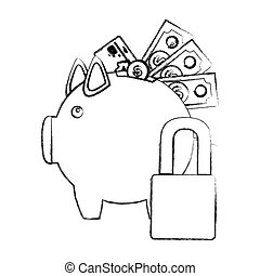 monochrome sketch of piggy bank with credit card and bills...
