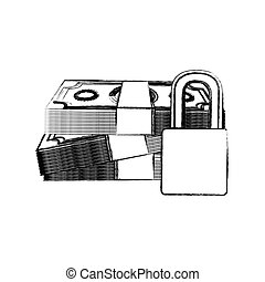 monochrome sketch of bills and coins with padlock protection