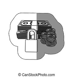 monochrome contour sticker of bills and coins with padlock protection
