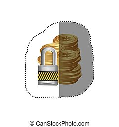 colorful silhouette sticker of stacked coins with padlock protection