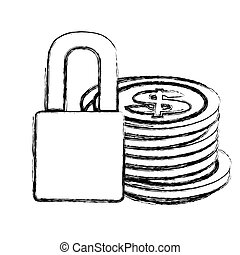 monochrome sketch of coins stacked and padlock