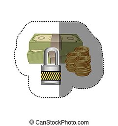 colorful silhouette sticker of bills and coins with padlock protection